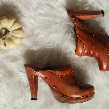 Clogs Boho Leather Wood Hippie Bohemian High Heel Studded Shoes