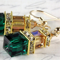 Emerald Green and Topaz Crystal Earrings, Swarovski, Gold Filled, Stacked Cubes