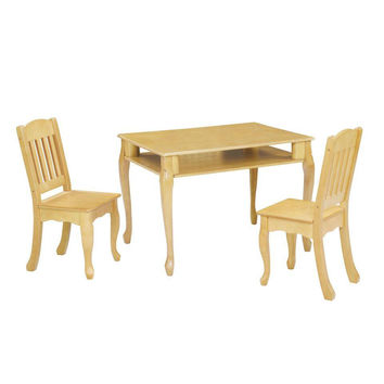 Teamson Kids - Windsor Rectangular Table & Set of 2 Chairs - Natural