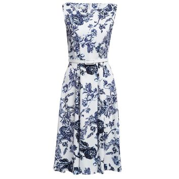 Retro Style Round Color Sleeveless Sash Waist Floral Print A-Line Midi Dress for Women