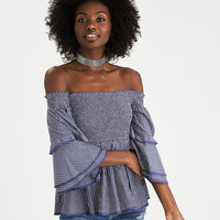 AEO Smocked Off-the-Shoulder Bell Sleeve Top, Navy