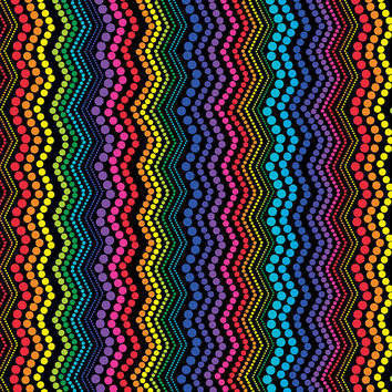 Rainbow Zigzag Black Kanvas Benartex Fabric 1 yard
