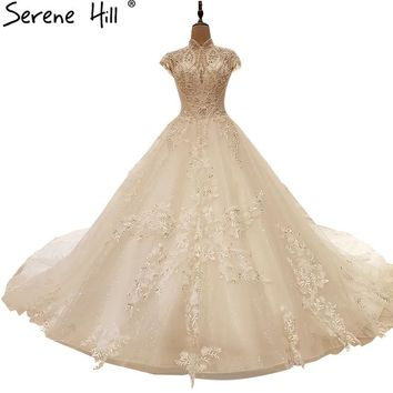Luxury Crystal Pearls Tulle Wedding Dresses White High Collar Bride Gown