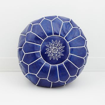 Moroccan Leather Pouf, Indigo Blue