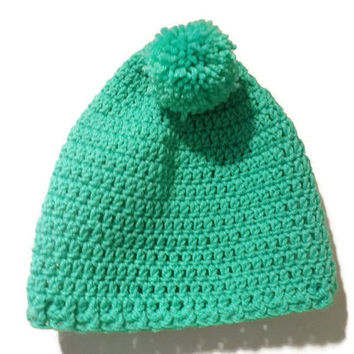 green pom pom beanie, crochet beanie, winter hat