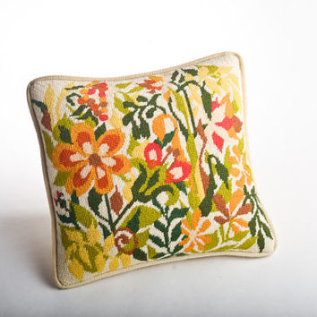 Vintage needlepoint pillow – stylized flowers mid-century cushion yellow, green, red