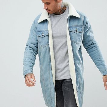 boohooMAN Denim Jacket With Borg Lining In Light Wash at asos.com