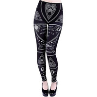 Ouija Board Mystifying Oracle Planchette Lapel Art Design Black Leggings