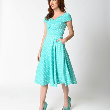 Retro 1950s Style Mint & White Polka Dot Sleeveless Swing Dress