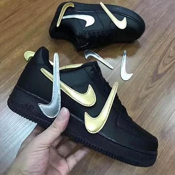 Air force 1 change the hook magic buckle and give away multiple logo hooks black gold
