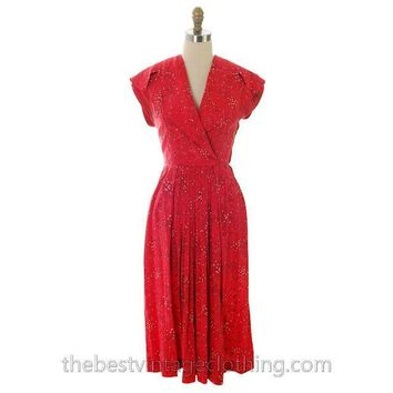 Vintage Red Silk Dress 1940s Whimsical Women Shopping For Hats Print 32-26-48 Small