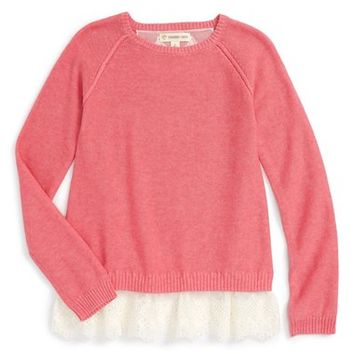 Tucker + Tate Lace Trim Sweater (Toddler Girls, Little Girls & Big Girls) | Nordstrom