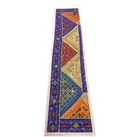Mogul Patchwork Table Runner Purple Vintage Embroidered Wall Hanging Tapestry - Walmart.com
