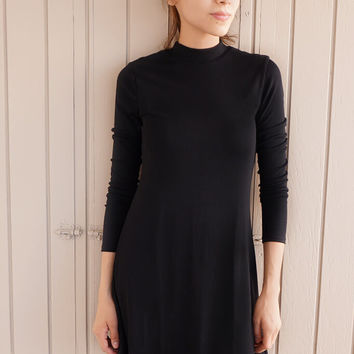 Yours Truly Long Sleeve Babydoll Dress - Black
