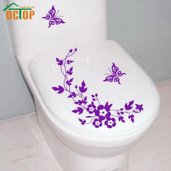 DCTOP Butterflies Flower Vine Bathroom Vinyl Wall Stickers Toilet Stickers Waterproof Adhesive Tile Wall Decals Decorative