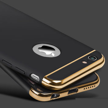 Luxury Gold Metal Flash Frame 3 in 1 Plating Hard Phone Case for iPhone