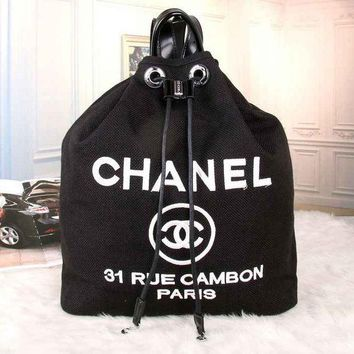 CUPUPO7D CHANEL Women Fashion College Canvas Satchel  Bookbag Backpack