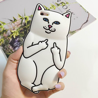 For iPhone 7 7 Plus 6 6S 4S 5S SE 5C 6 Plus 6S Plus Phone Case Middle Finger Pocket White Cat Soft Silicon 3D Cartoon Back cover