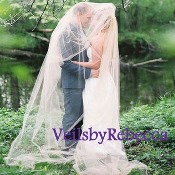 Simple blush veil, plain pale blush tulle chapel veil,2 tiers champagne tulle veil,blush cathedral veil, pale pink wedding veil V601