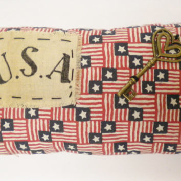 Mini USA Flag Fabric Pillow Tuck, Patriotic Americana Accent Pillow