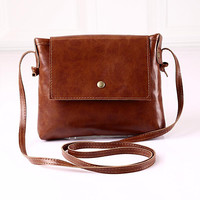 New vintage leather women shoulder bag brand small girls handbag black lady party crossbody purse designer women messenger bag