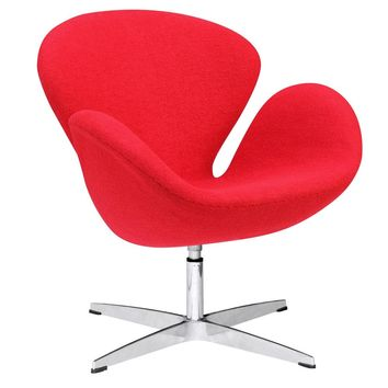 Swan Swivel Chair Fabric, Red