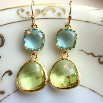 Peridot Earrings Aquamarine Gold Plated - Bridesmaid Earrings - Wedding Earrings - Valentines Day Gift
