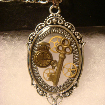 Steampunk Pendant Necklace with a Key ,Gears  and Tiny Pocket Watch (1005)