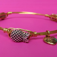 Ships Free! Pineapple Gold Wire Wrapped Bangle Bracelet (Inspired by Bourbon and Bowties) - great gift for bridesmaids, birthdays, grads