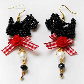 Black earrings with red Scotch Terrier embroidery beaded Scottish style