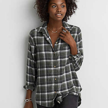 AEO Ahh-mazingly Soft Plaid Shirt , Olive