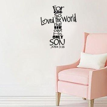 "Lucky Girl Decals For God So Loved The World That He Gave His Only Son John 3:16 Vinyl Wall Decal Sticker 12"" w x 14.2"" h"