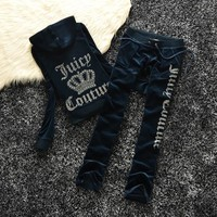Juicy Couture Studded Logo Crown Velour Tracksuit 605 2pcs Women Suits Navy Blue