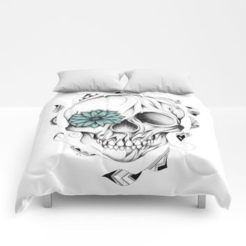 Poetic Wooden Skull Comforters by LouJah