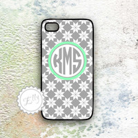 personalized iphone case gray and mint monogram hard case for i phone 4 4s and 5