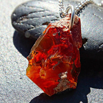 red fire opal necklace silver, raw opal nugget pendant, mens crystal pendant mexican fire opal, crystal necklace men rough opal necklace