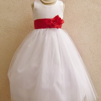 Flower Girl Dress Simple Dresses WHITE Wedding Summer Christmas Easter Recital Pageant Bridesmaid Communion Church Toddler Baby Cheap