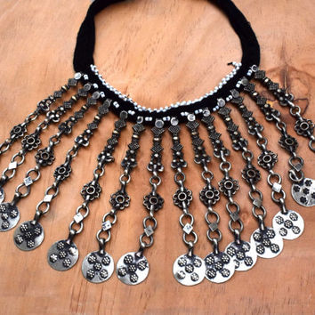 Afghan Kuchi Necklace,Tribal Collar Necklace,Afghan Jewelry,Ethnic Bib Necklace,Chained Gypsy Boho Necklace,Bohemian,Belly Dance Necklace