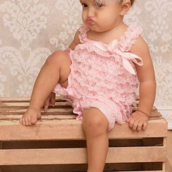 Blush Pink Lace Baby Romper Photo Prop - CPD001B