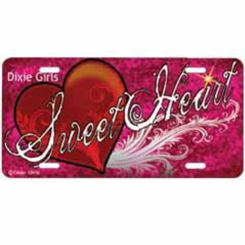 Sweetheart Embossed Aluminum Car Tag By Dixie Outfitters®