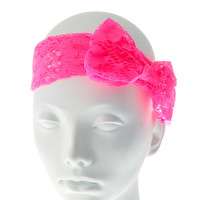 Neon Pink Lace Headwrap