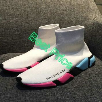 Real Balenciaga Speed Knit Official Trainers Face White Contrasting Textured Multi Color Sole newest sneaker