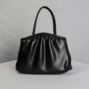 Vintage 60s Black Handbag Faux Leather Purse Kelly Bag by Garay