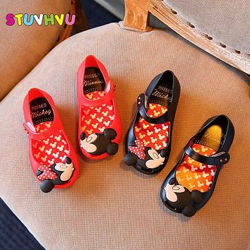 Mini sed 2017 pvc jelly shoes kids baby newest mouse cat plastic boy girl fish mouth rain boots cool child shoes 15-18.5cm