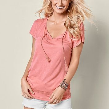 Tie Front Top Two Pack in Coral & Black | VENUS