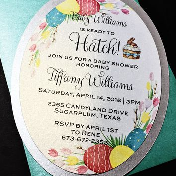 About to Hatch Baby Shower Invitations - Set of 25 Easter Baby Shower Invitations, Spring Baby Shower Invitations