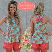 Day Dreaming Floral Tank with Bow on Back in Mint