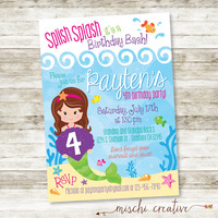 "Splish Splash, Under the Sea, Mermaid Birthday Party, DIY Printable Invitation, 5"" x 7"""