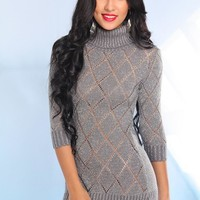 Grey Metallic Knit Sweater Dress with Half Length Sleeves