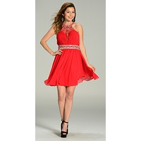 Short Chiffon A Line Dress Red Beaded Halter Neck Sheer Back